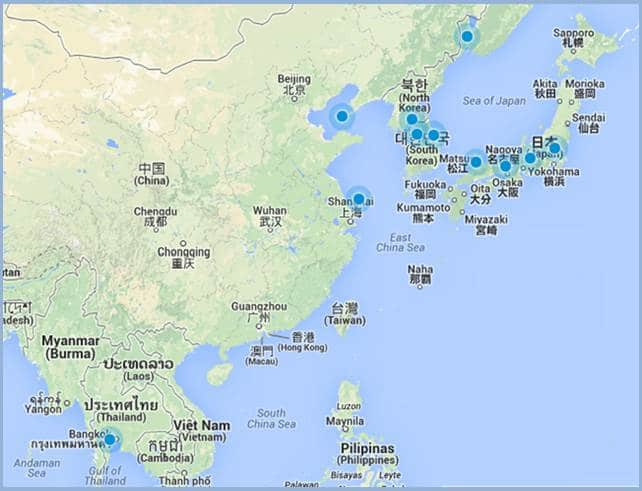 mapa asia maquinas