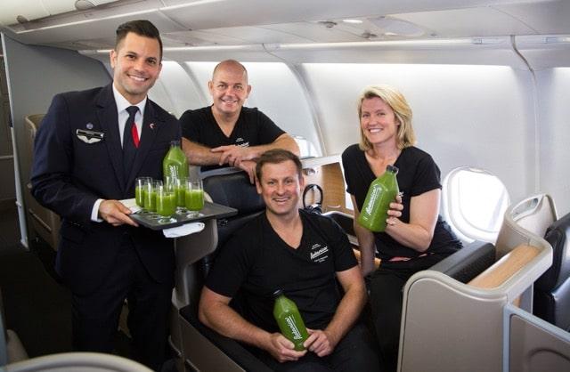 Qantas_L-R Qantas Flight Attendant Michael Cook; Botanica team Grant Swanepoel, Richard Magney and Nadia Watson. Image credit Brent Winstone.