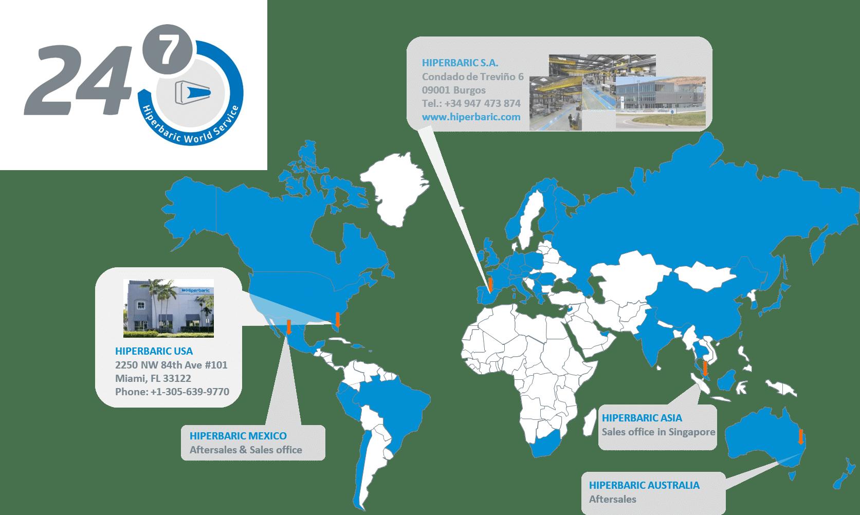 Situación actual de la expansión mundial de Hiperbaric.