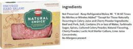 Figure 3. Salami no curado de Hormel Foods declarado libre de conservantes, pero con antimicrobianos naturales en su lugar