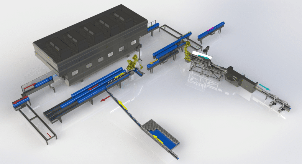 Example of fully automatized line with Hiperbaric HPP machine
