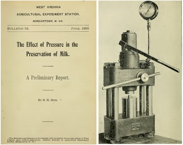 Imagen 1. Portada del artículo de Hite donde describe el efecto de las altas presiones para la conservación de la leche y el primer equipo HPP utilizado para la presurización de las muestras de leche (Hite, 1899)