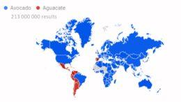 Búsquedas de los términos avocado y aguacate a nivel mundial. Fuente: (Google Inc., s.f.)