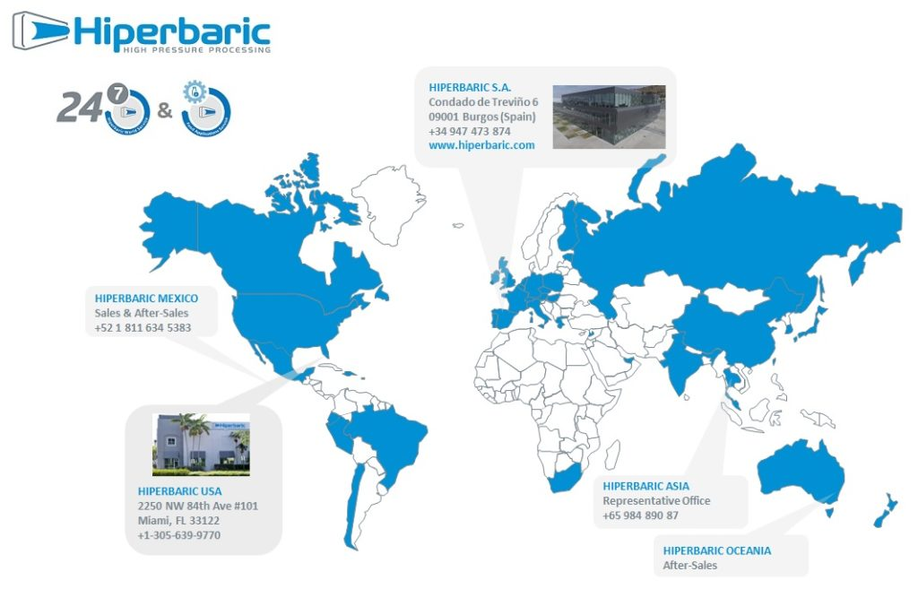 Alta presión alrededor del mundo. Mapa mundial de todas las sedes de Hiperbaric
