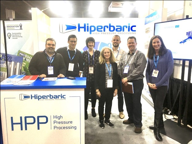 Pictures from left to right: Roberto Peregrina, Hiperbaric USA Director, Anthony Zapata, Hiperbaric, Marketing & Sales Specialist, Jenny Tuggle, Universal Pure, Marketing Manager, Wendy Alpine, Alpine Communications, President & CEO, Oscar Garcia, Hiperbaric, Marketing & Sales Specialist, Andy Hanacek, National Provisioner, Editor-in-chief, and Ann Warren, Alpine Communications, Editorial and Media Relations.