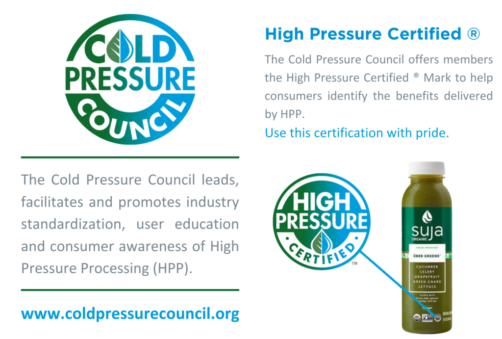 The Cold Pressure Council offers the High Pressure Certified Mark