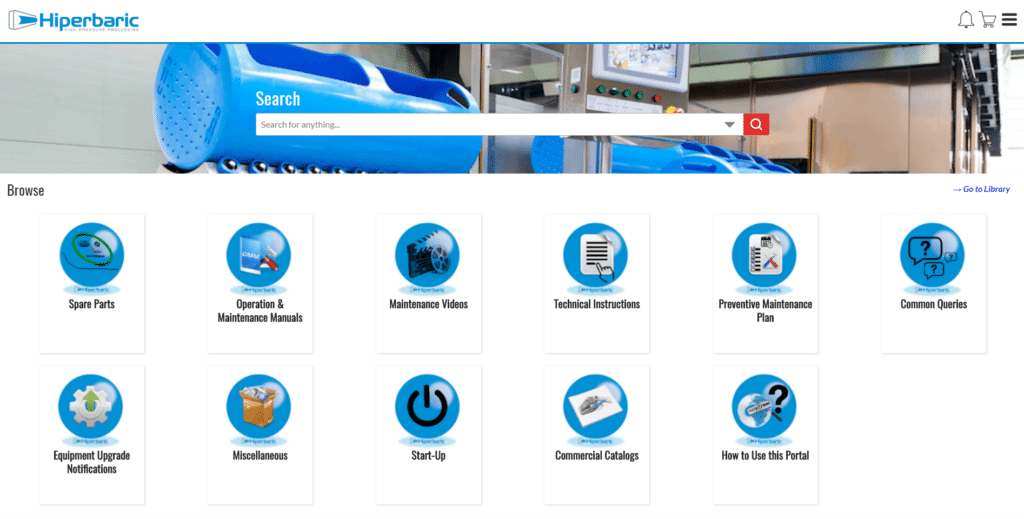 After-Sales Portal provides its customers with information and the possibilities of maintenance, repairs, orders for parts, spare parts and services offered by Hiperbaric.