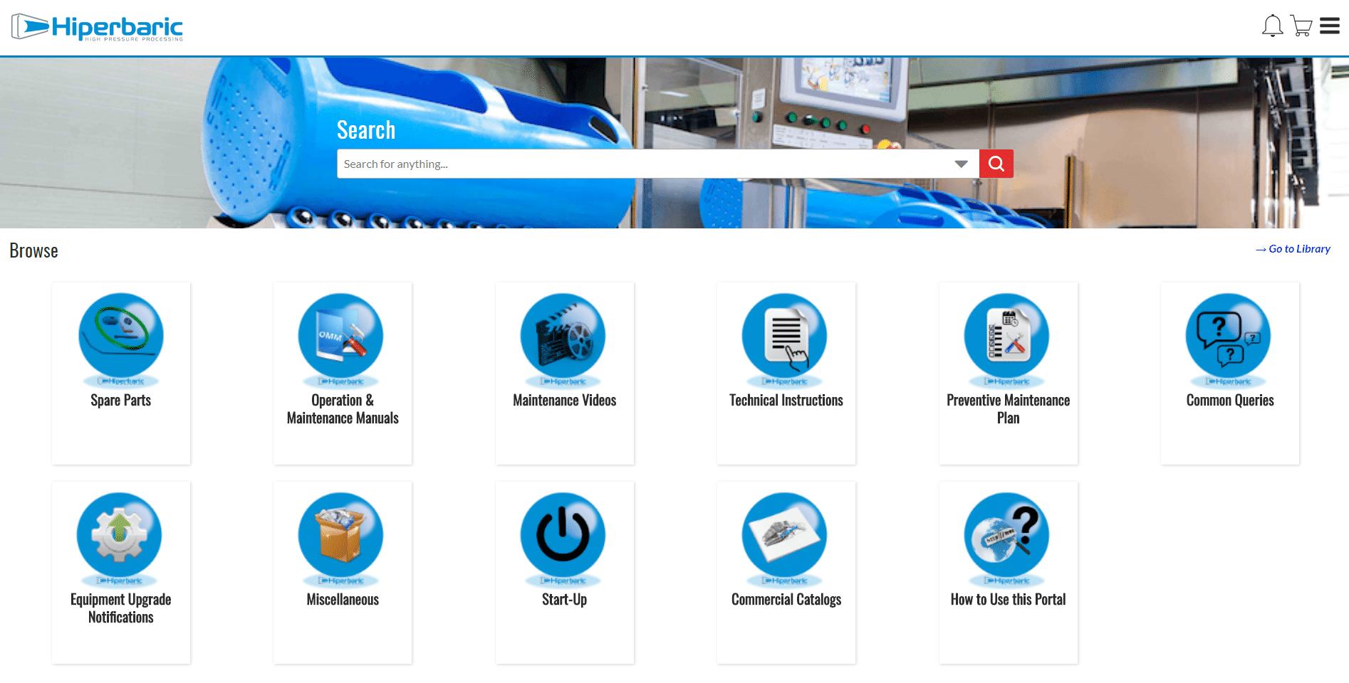 El Portal de Postventa provee a sus clientes de información y las posibilidades de mantenimiento, reparaciones, pedidos de piezas, repuestos y servicios ofrecidos por Hiperbaric.