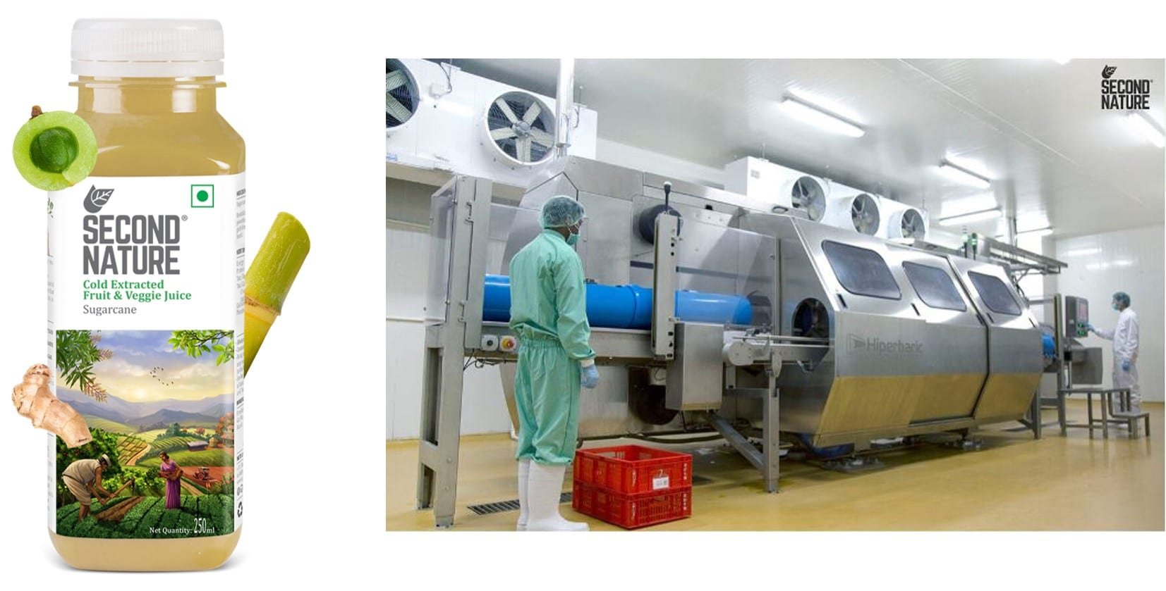 Figure 4: Sugarcane juice commercialized by Second Nature, and their HPP Hiperbaric machine facilities.