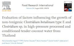 """Figura 3. Artículo gratuito publicado en """"Food Research International"""" con resultados prometedores donde se evalúan distintos factores que pueden influir en el crecimiento de C. botulinum en agua de coco HPP"""