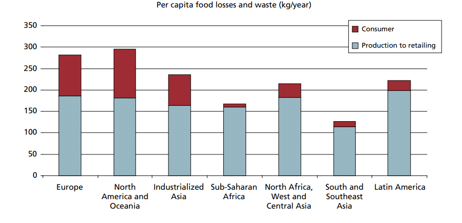 Source: FAO report (from chapter 3) showing the food losses and waste in kg/year