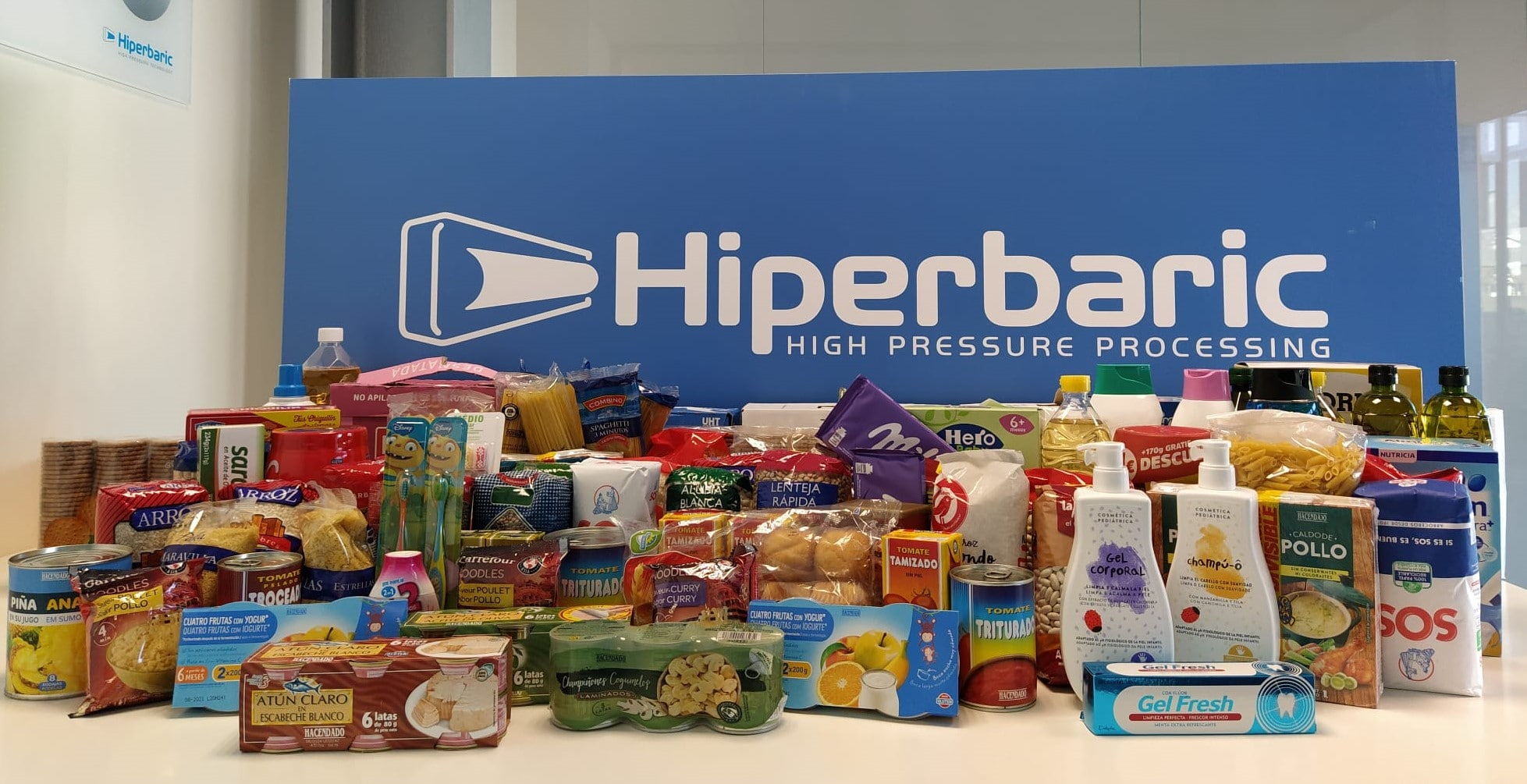 Non-perishable and hygiene products donated by Hiperbaric employees on World Food Day 2020