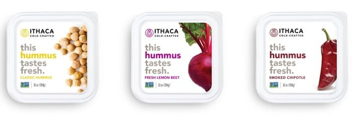 Figure 1: Some of the hummus options contemplated by Ithaca hummus