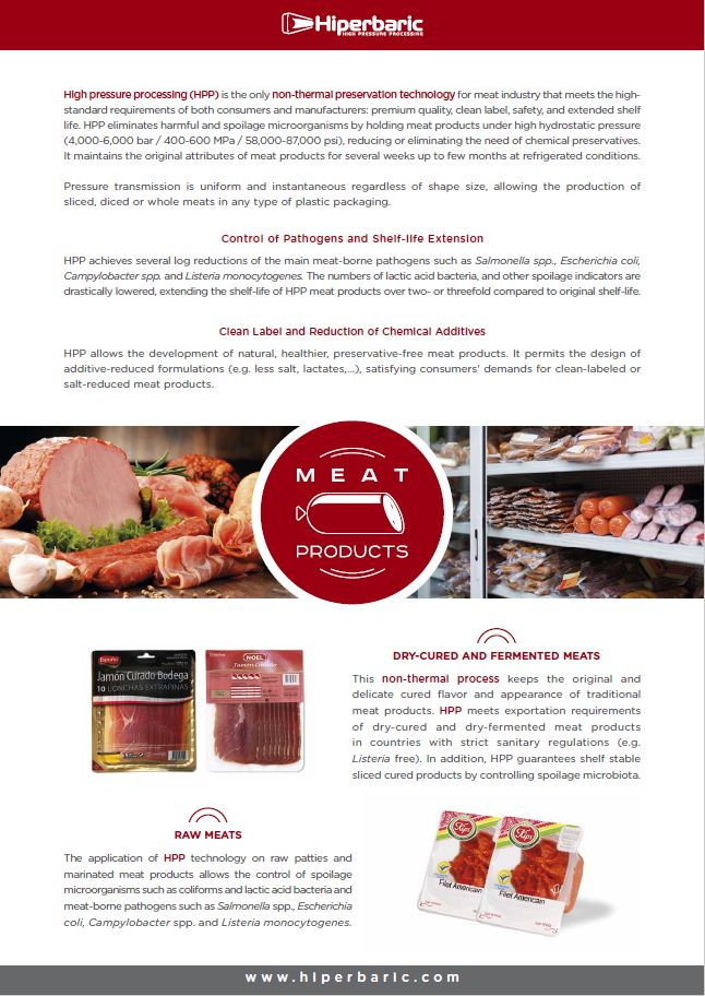 Meat products flyer of Hiperbaric