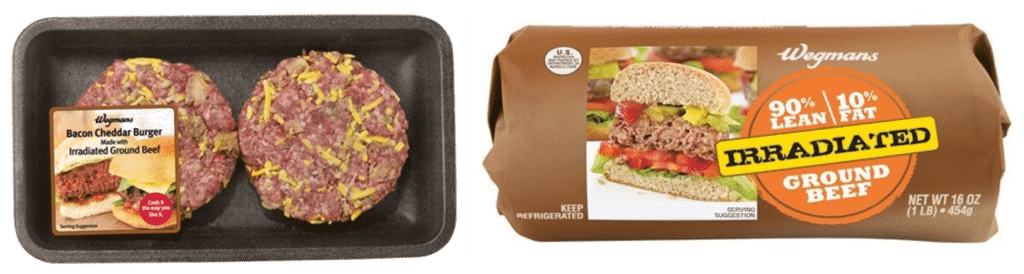 Examples of meat products treated with irradiation.