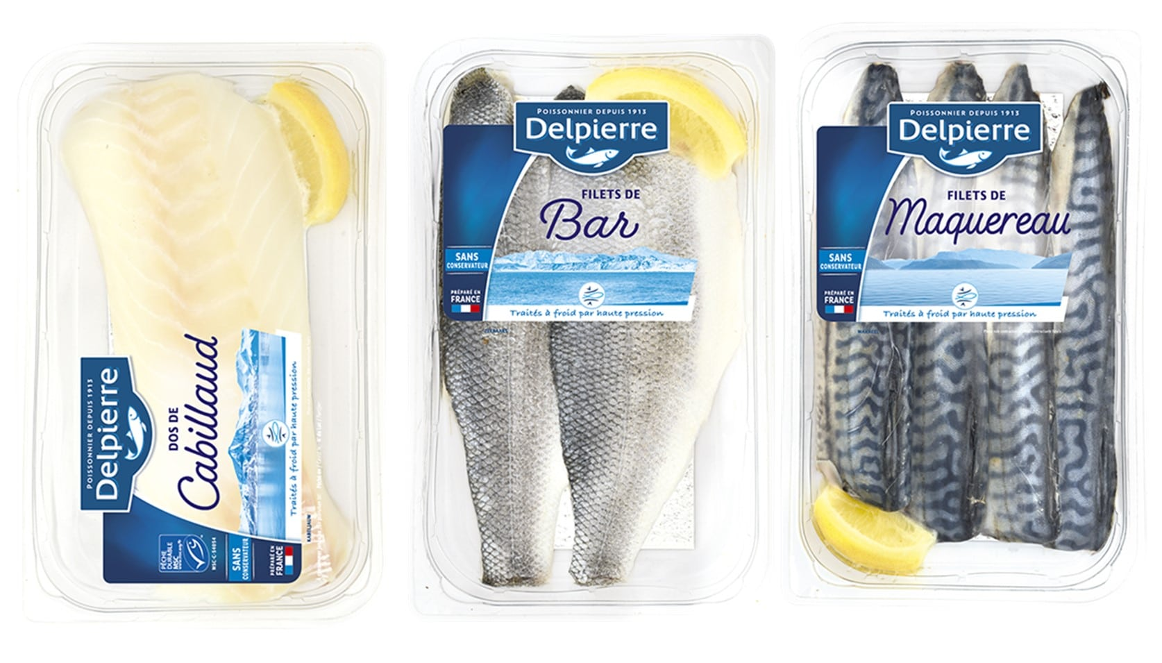 Fig. 5. HPP raw fillets of cod (left), bar (middle) and maquereaux (right), Delpierre.