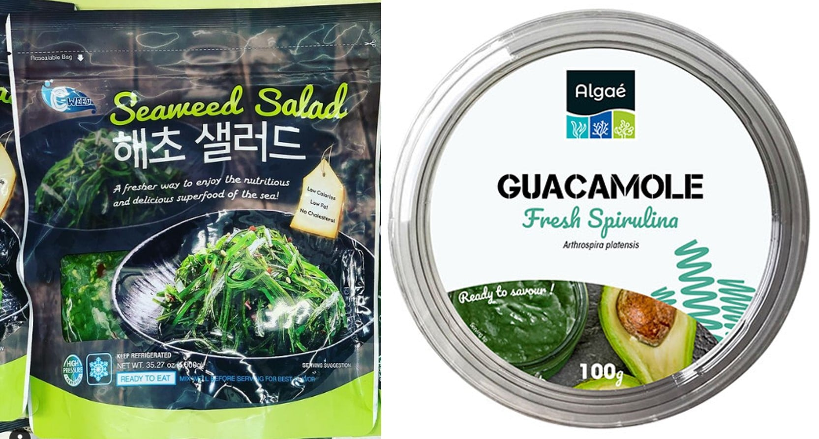 Fig. 7. HPP algae products. Seaweed salad, C-Weed (left); Avocado and spirulina dip, GlobeXplore (right).