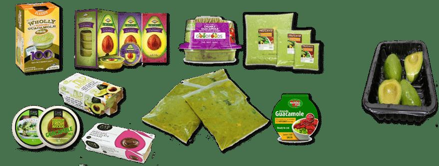 Imagen 2. Algunos productos de aguacate de clientes Hiperbaric: Cupanda, Aguacates Echertea, Camposol, Phoenix Foods, AIB, Jaguacy, IFG, Frozavo, Grupo Freza